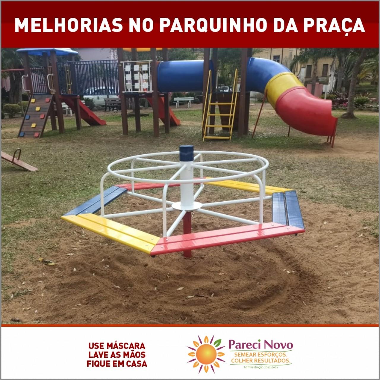 A Praça Central Miguel Arraes recebeu melhorias no parquinho infantil.