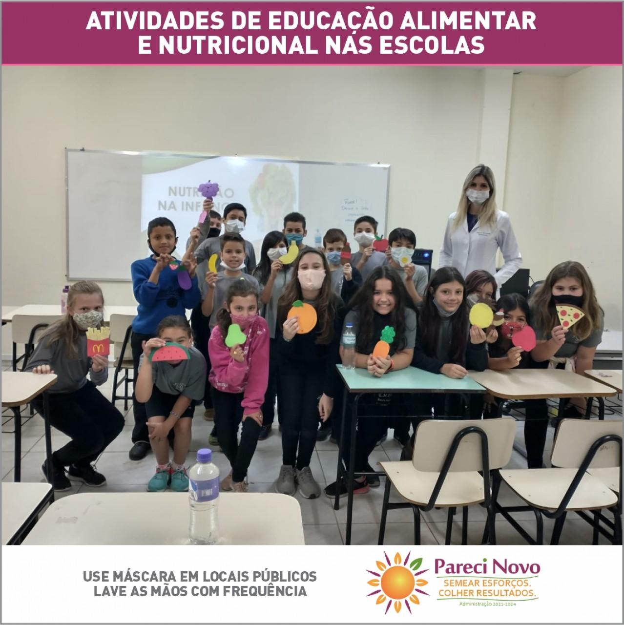 Atividades de educação alimentar e nutricional nas escolas