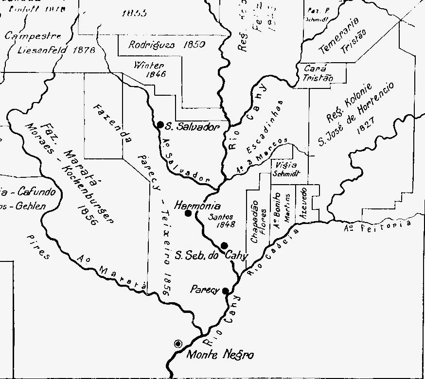 Mapa da Fazenda Parecy ano de 1856